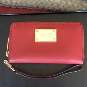 Michael Kors Cross Grain Leather Wristlet Wallet